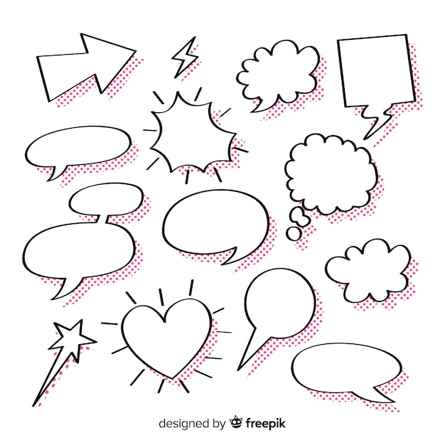 Collection of empty speech bubbles for comics Free Vector