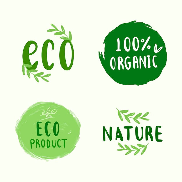 Collection of environmental friendly typography vectors Free Vector