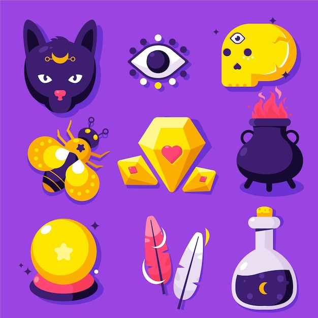 Collection of esoteric element Free Vector