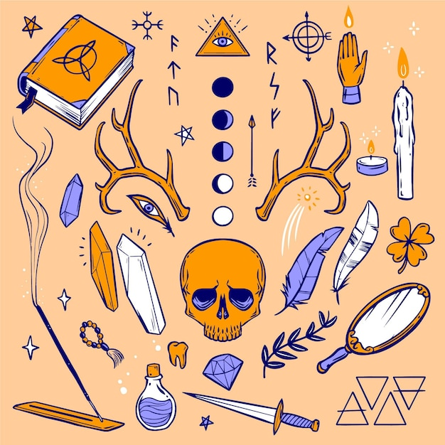 Collection of esoteric elements Free Vector