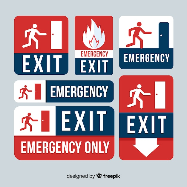 Collection of exit signs Free Vector