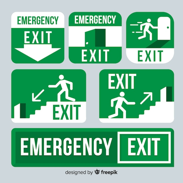 Collection of exit signs Premium Vector
