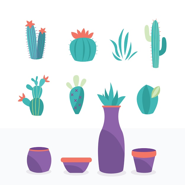 Collection of exotic plants natural elements are isolated easy to change pot and flower Premium Vector