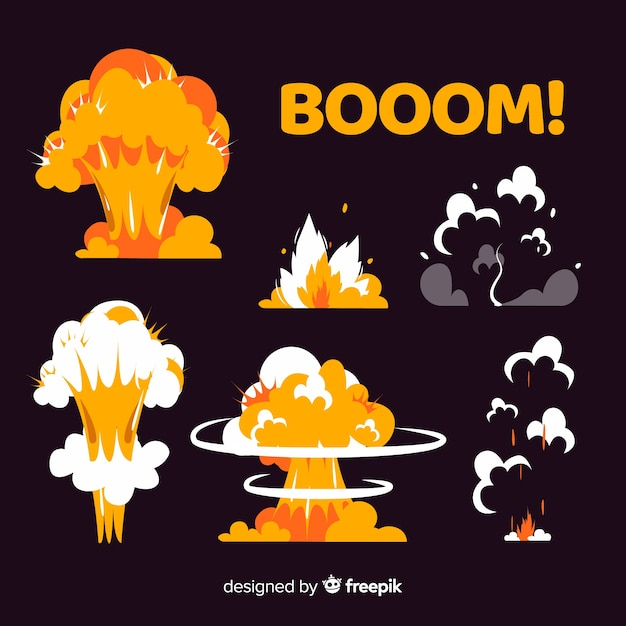 Collection of explosion effects cartoon style Free Vector