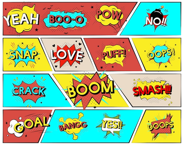 Collection of explosion vectors Free Vector