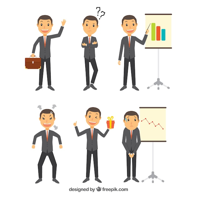 Collection of expressive businessman character in several postures Free Vector