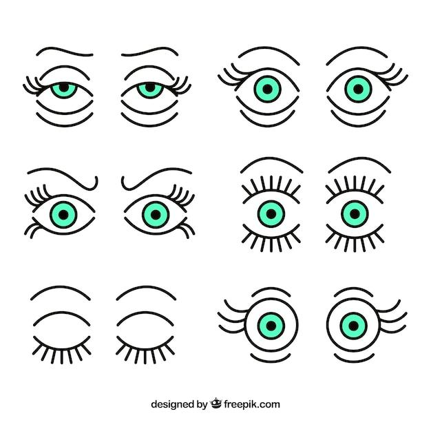 Raccolta di occhi espressivi Vettore gratuito