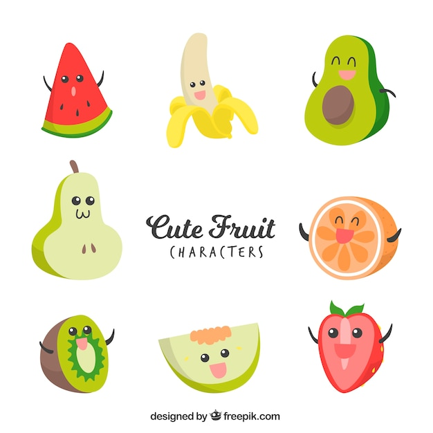 Collection of expressive fruit characters in hand-drawn style Free Vector