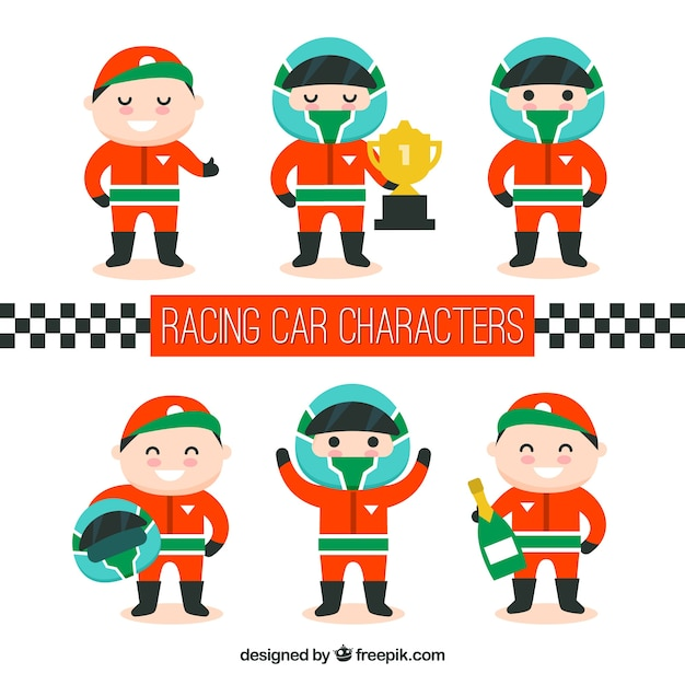 Collection of f1 racing characters Free Vector