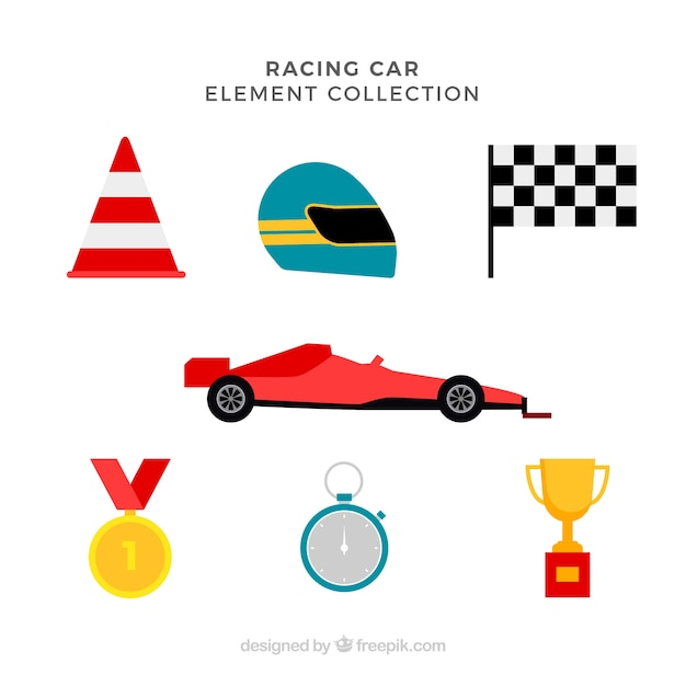Collection of f1 racing elements Free Vector