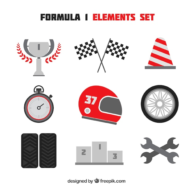 Collection of f1 racing elements Premium Vector