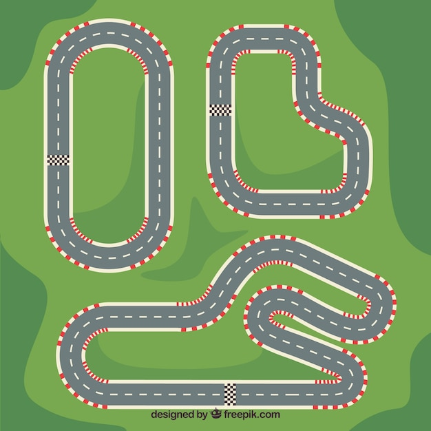 Collection of f1 racing tracks Premium Vector