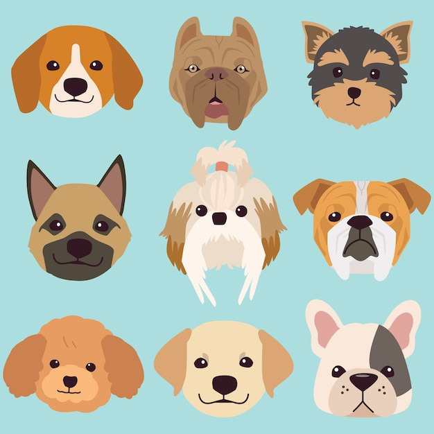 The collection face of dog Premium Vector