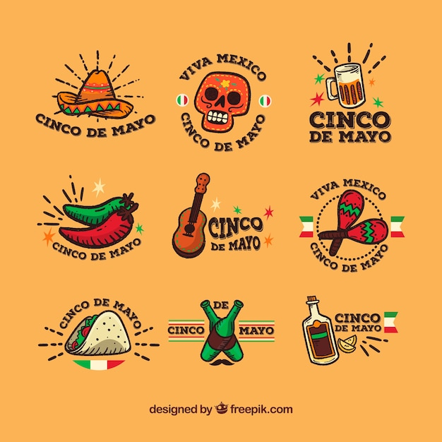 Collection of fantastic labels in flat design for cinco de mayo Free Vector