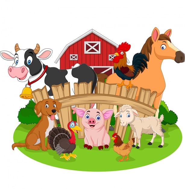 Collection of farm animals cartoon Premium Vector