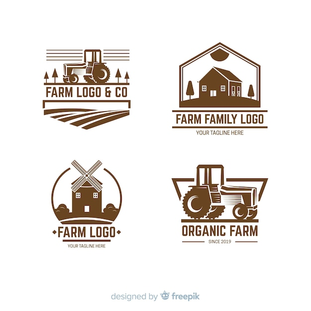 Collection of farm logo flat style Free Vector