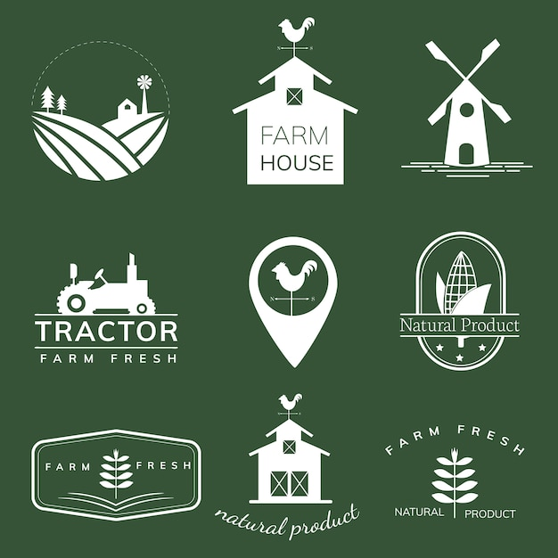 Collection of farming icon illustrations Free Vector