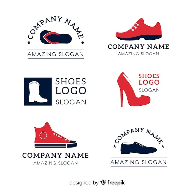 Collection of fashion shoe logos Free Vector