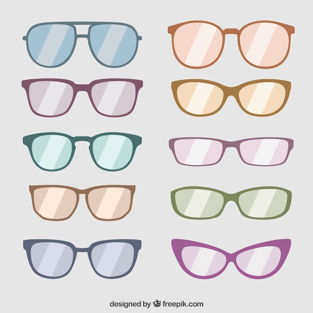 Collection of fashionable sunglasses Free Vector