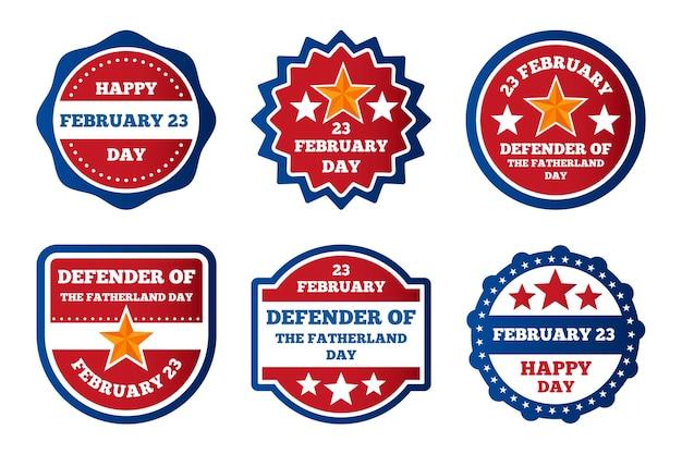 Collezione di etichette del giorno del difensore della patria Vettore gratuito