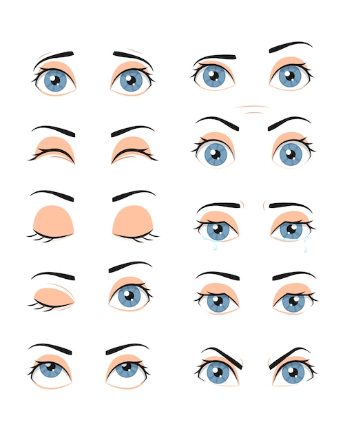Collection of female eyes with different emotions. Premium Vector
