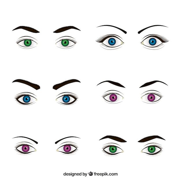 Raccolta di sesso femminile guarda con gli occhi colorati Vettore gratuito