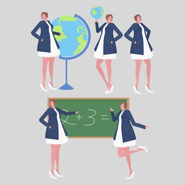 Collection of female teacher activities in the school Premium Vector