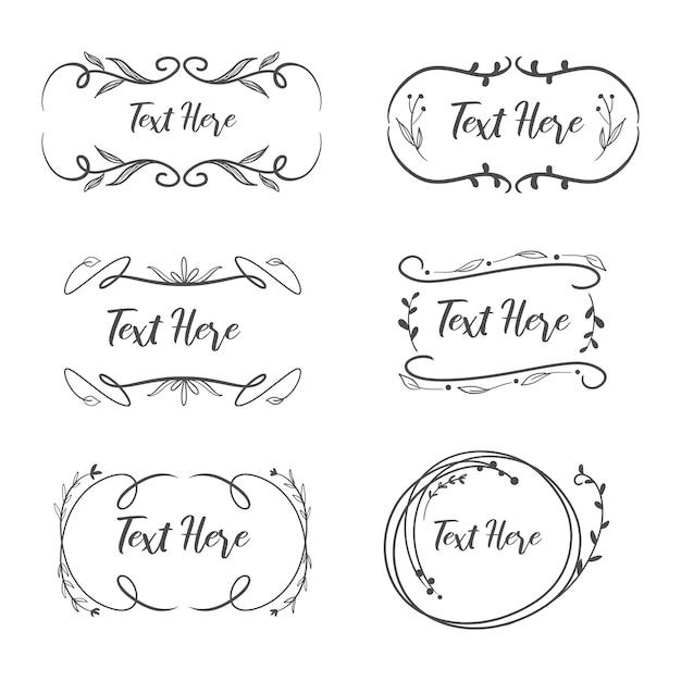 Collection of feminine vintage logo frame for wedding. Premium Vector