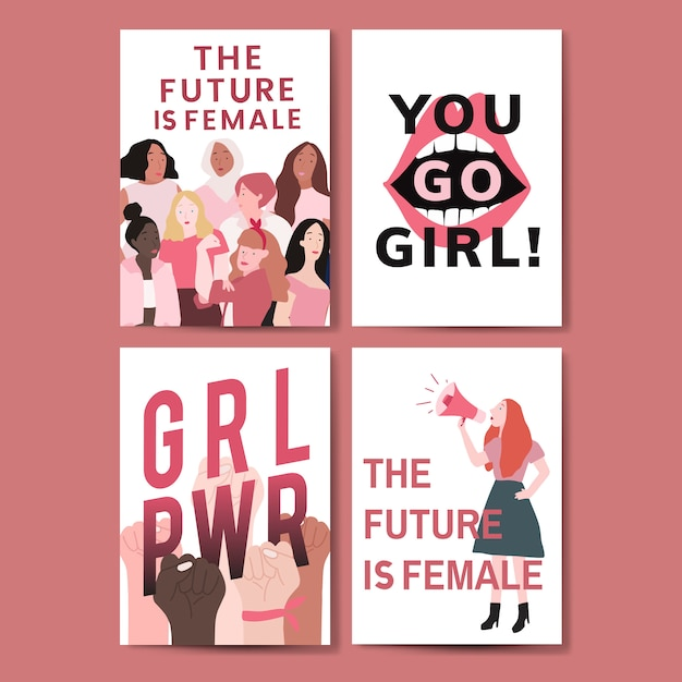 471e8dc0982 Collection of feminist message poster vectors Free Vector