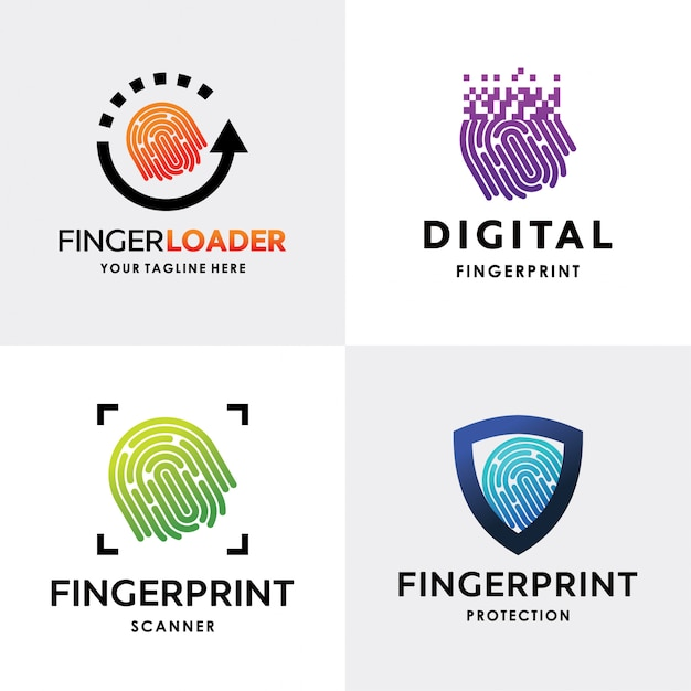 Collection of finger print logo set design template Premium Vector