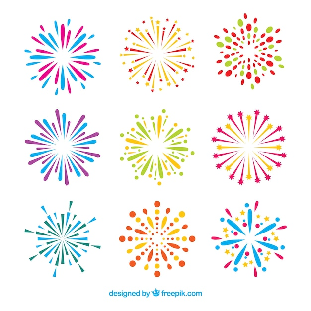 Collection of firework Free Vector