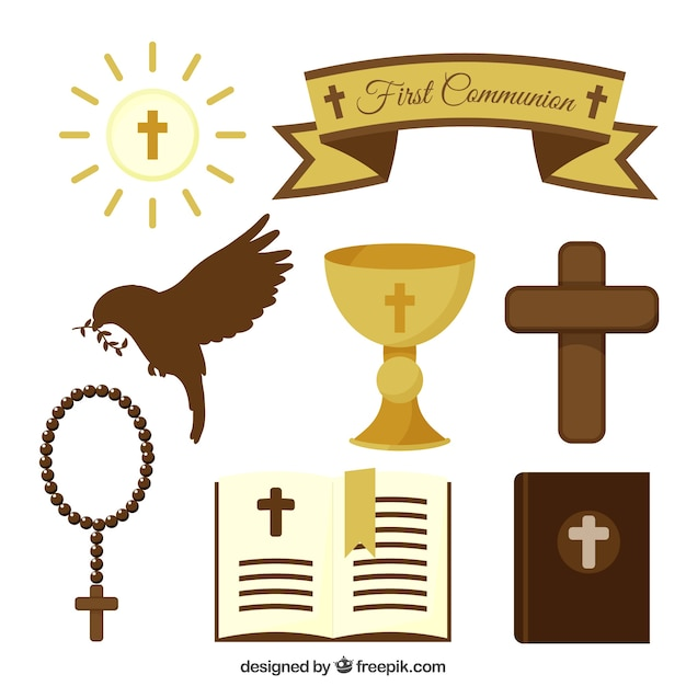Collection of first communion objects in flat design Free Vector