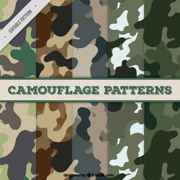 Collection of five camouflage patterns Free Vector