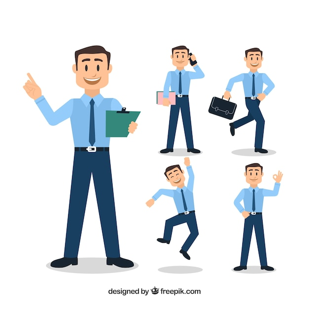 Collection of five salesman characters Free Vector