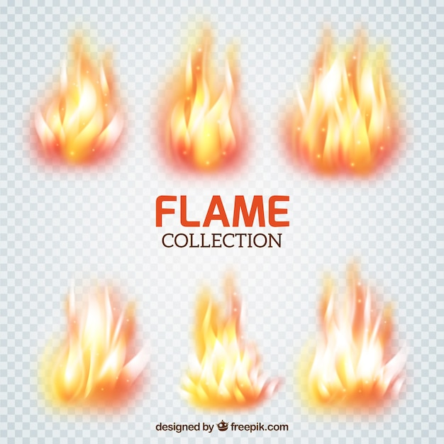 Collection of flame brushes Free Vector