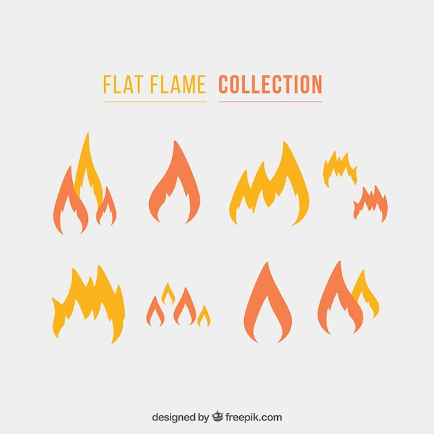 Collection of flames in flat design Free Vector