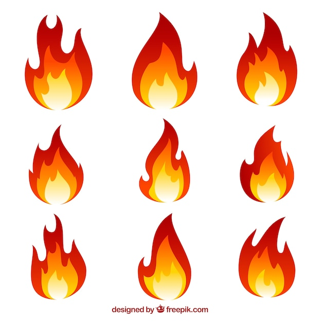 Collection of flames Free Vector