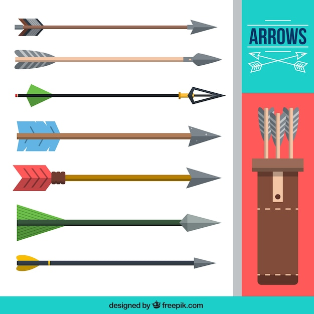 Collection of flat arrows Free Vector