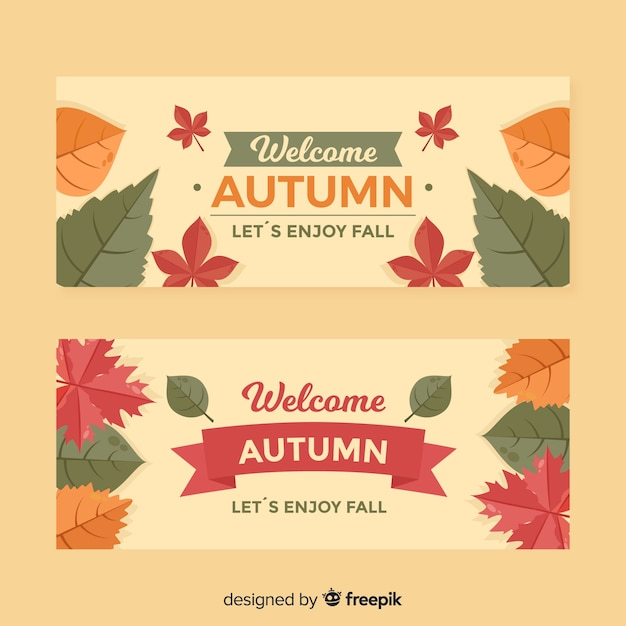 Collection of flat autumn banners Free Vector