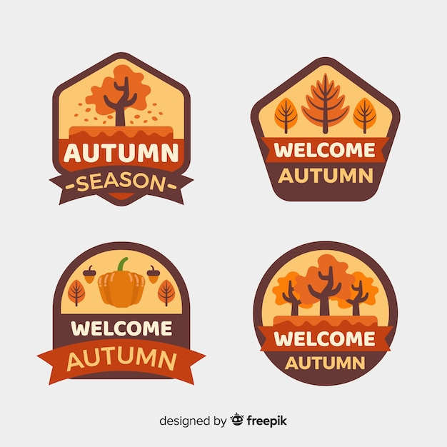 Collection of flat autumn labels Free Vector
