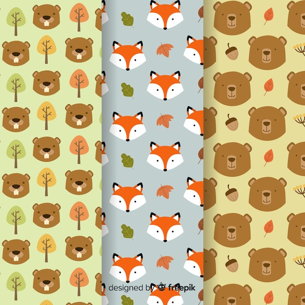 Collection of flat autumn pattern Free Vector