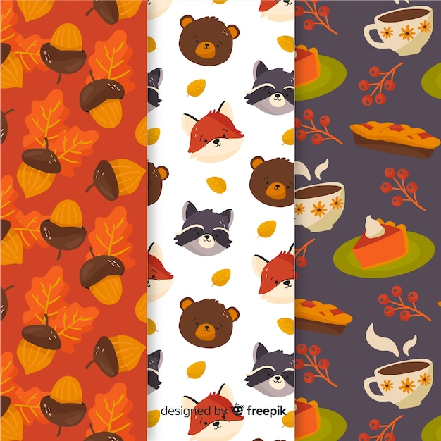 Collection of flat autumn patterns Free Vector