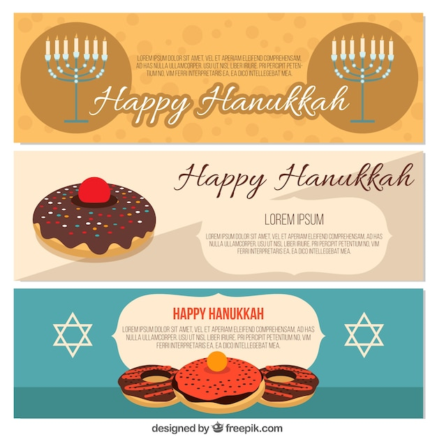 Collection of flat banners for hanukkah Free Vector