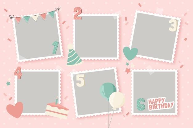 Raccolta di cornice collage piatto compleanno Vettore gratuito