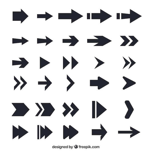 Collection of flat black arrow Free Vector