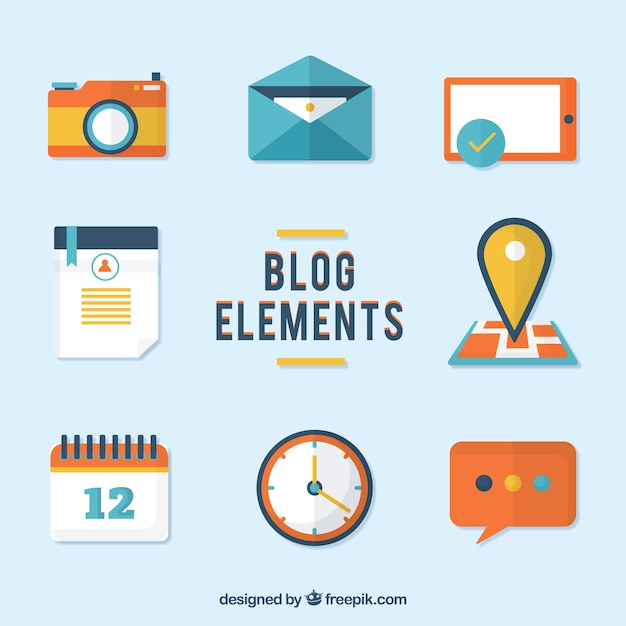 Collection of flat blog element Free Vector