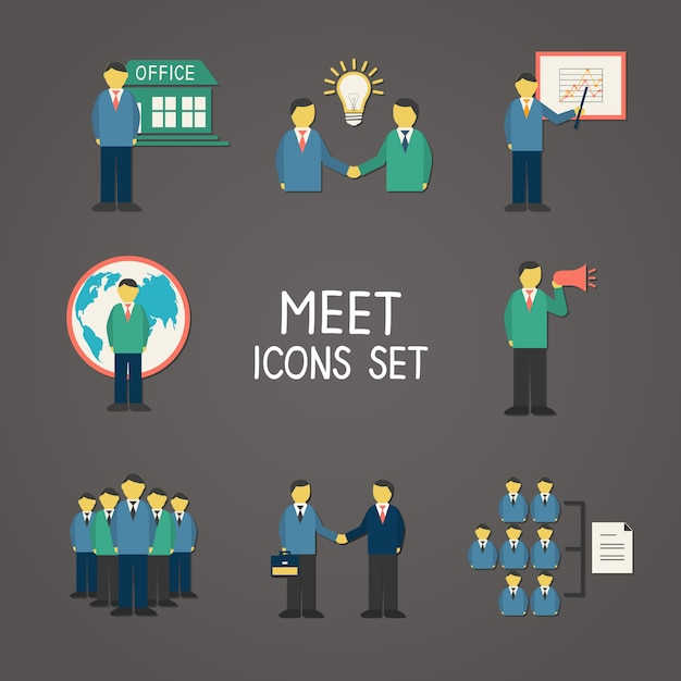 Collection of flat business people Premium Vector