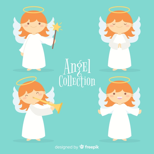 Collection of flat christmas angels Free Vector