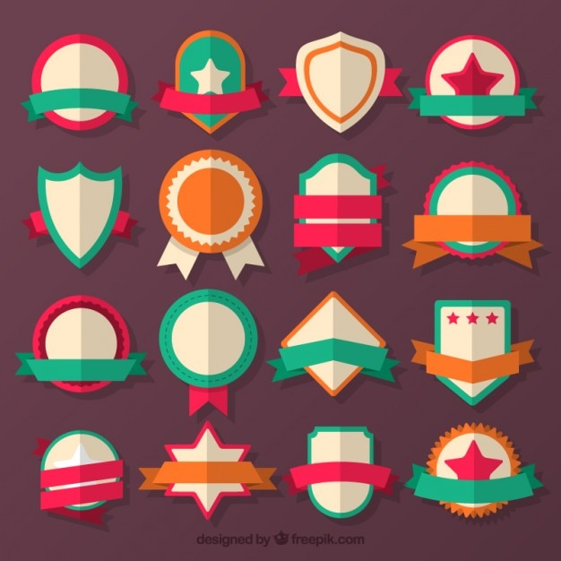 Collection of flat colored badge Free Vector