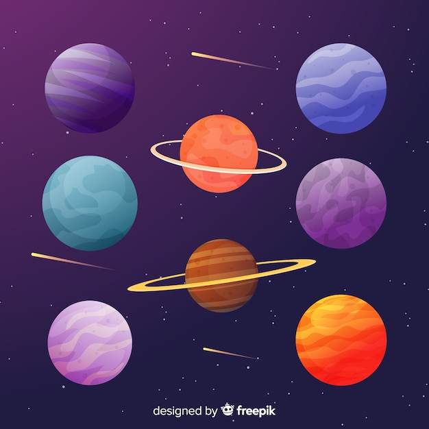Collection of flat colorful planets Free Vector